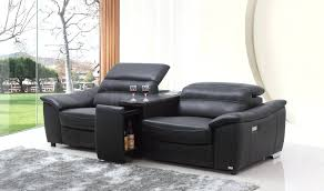 2 Seat Leather Reclining Sofa Valencia 2 Seater Leather Recliner Sofa With Drinks Console Black