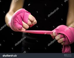 woman wrapping hands pink purple boxing stock photo 360752558