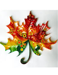 maple leaf unique paper quilled wall art for home decor