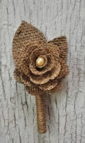 burlap boutonniere rustic burlap boutonniere for the groom or groomsmen