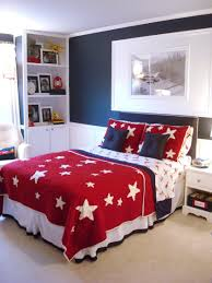 bedroom young boys with black wallpaint color and red floating