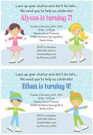 ice skating birthday party invitations ice skating sports