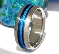 blue titanium wedding band thin blue line and titanium wedding band b16 wedding