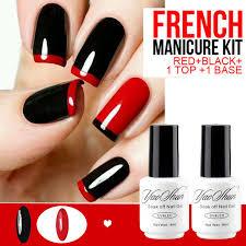french manicure gel nail polish gel varnish red black base top