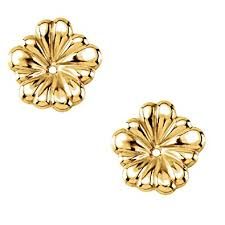 earring gold 14ky gold small flower earring jacket 7 16 of a inch