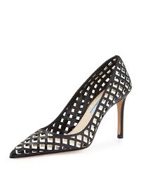 prada black friday prada lattice cut leather pump in metallic lyst