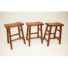 amazon com ehemco set of 3 heavy duty saddle seat bar stools
