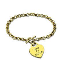 Name Bracelets Gold Personalized Heart Nameplate Bracelet Gold Color Engraved Name