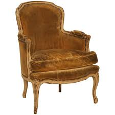 antique french louis xv style bergere chair in old paint for sale