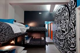 attractive bedroom wall designs ideas with light blue motive home