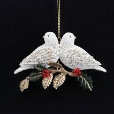gisela graham resin turtle doves on metal leaf branch