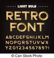 vectors illustration of 80 u0027s retro alphabet font metallic effect