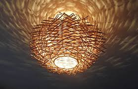 Wicker Light Fixture by Unusual Hand Made