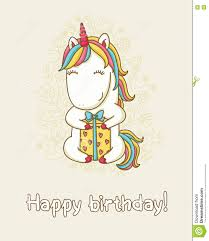 birthday card with unicorn stock vector image 75826731