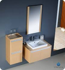 fresca mirano light oak modern bathroom vanity with a matching