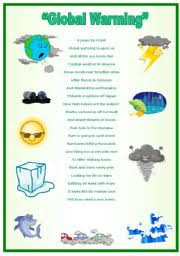 Global Warming Worksheet Global Warming A Poem By Frank With Activities