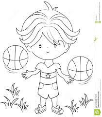 boy playing basketball coloring page stock illustration image