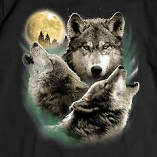 wolf t shirt three wolves howling moon wolfpack