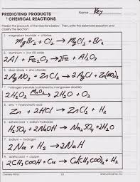chemical reactions worksheet answers worksheets