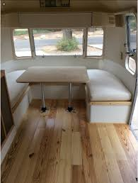 Vintage Airstream Interior by Dinette With No Back Cushions Save Money This Way Camping