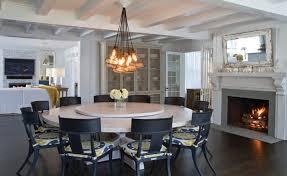 custom headlamp chandelier u0026 custom whitewashed round dining table