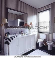 Striped Wallpaper Bathroom Pictures Of Mirror Above Double Basins In White Vanity Unit In