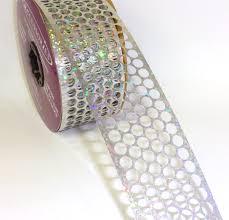 honeycomb ribbon 9 honeycomb ribbon 1 75 holographic silver 25 yd roll