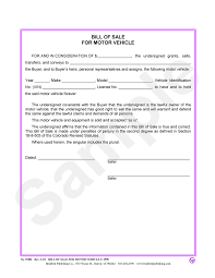Car Bill Of Sale Template by Bill Of Sale Motor Vehicle U2013 Bradford Publishing