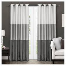Grommet Window Curtains Set Of 2 Chateau Striped Faux Silk Grommet Top Window Curtain