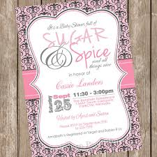 sugar and spice and everything baby shower damask sugar and spice girl baby shower invitation pink gray