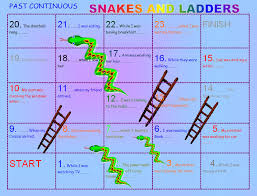 write the pattern of past tense and give exle continuous snakes and ladders boardgame