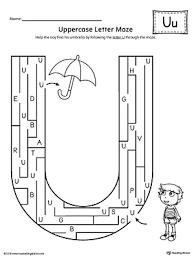 uppercase letter u maze worksheet myteachingstation com