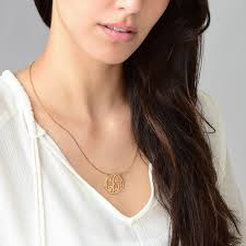 large monogram necklace large monogram necklace with gold plating design
