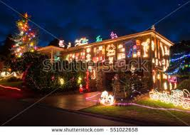 house decorated lighted christmas new year stock photo 113605390