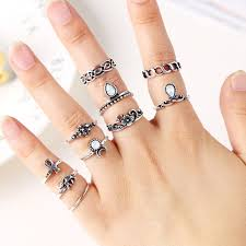 knuckle rings set images 10pcs lot bohemian midi ring set vintage steampunk elephant moon jpg