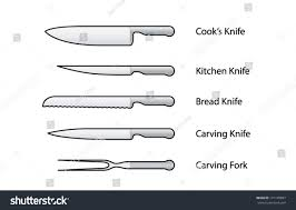 set kitchen knives cooks kitchenbreadcarving carving stock vector