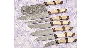 damascus kitchen knives for sale damascus kitchen knife set in brown 7 pcs gladiatorsguild