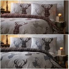 tartan stags reversible duvet quilt cover bed set including