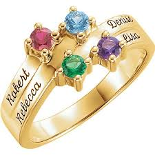 customized rings with names gold 1 to 4 stones names engravable ring