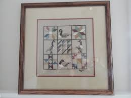 1980 s home decor images country counted cross stitch linen quilt sampler with geese