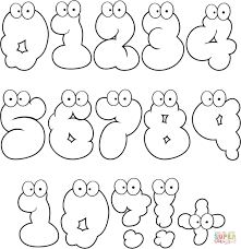 cartoon numbers set 0 10 coloring page free printable coloring pages