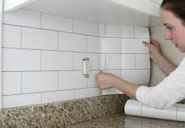 Tile Wallpaper White Subway Tile Temporary Backsplash The Tutorial The
