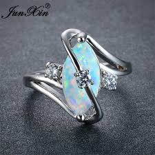 opal stone rings images Junxin unique women blue white fire opal stone ring 925 silver jpg