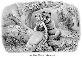sketch image of bear hugging woman