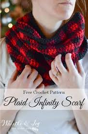 crochet plaid infinity scarf whistle and