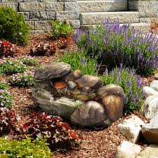 Rock Fountains For Garden Garden Resin Cascading Rock Reviews Wayfair