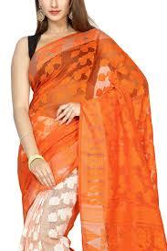 dhakai jamdani saree buy online tangelo white paisley dhakai cotton jamdani saree muslin myths