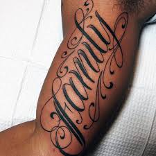 collection of 25 words lettering tattoos on arm