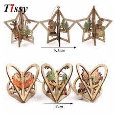 3sets creative 3d wooden pendants ornaments diy
