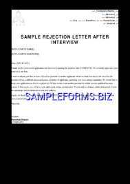 sample rejection letter after interview pdf free u2014 1 pages